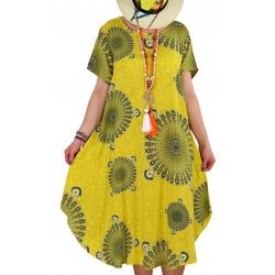 Robe grande taille été asymétrique jaune MOUNIA
