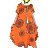 Robe grande taille été asymétrique orange MOUNIA