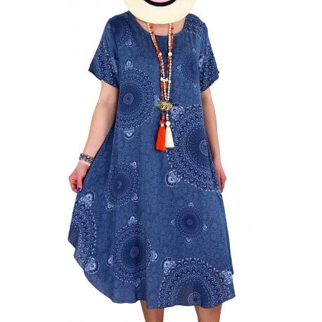 Robe grande taille été asymétrique bleu jean MOUNIA