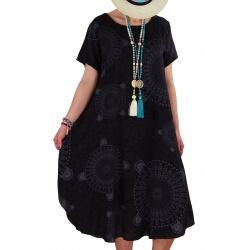 Robe grande taille été asymétrique noir MOUNIA