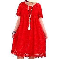 Robe été dentelle bohème chic rouge PAPRIKA