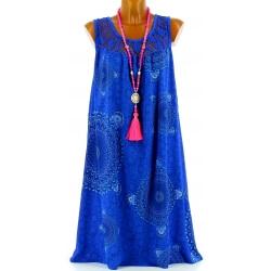 Robe grande taille été ethnique bleu roi MANDALA