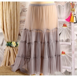 Jupe grande taille tulle volants gris LOUANE
