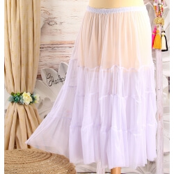 Jupe grande taille tulle volants blanc LOUANE