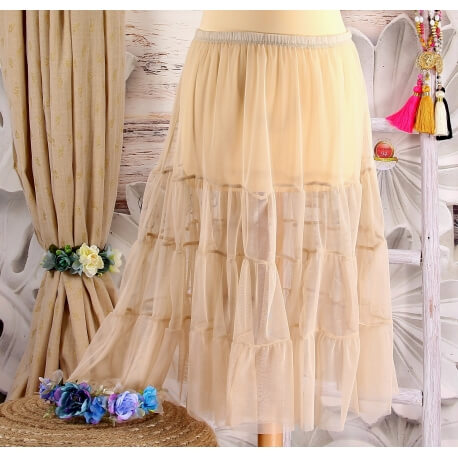 Jupe grande taille tulle volants beige taupe LOUANE