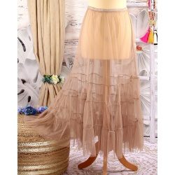 Jupe longue grande taille tulle volants taupe LOUANE