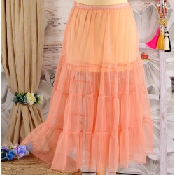 Jupe grande taille tulle volants rose saumon LOUANE