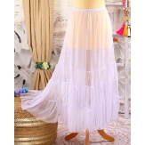Jupe longue grande taille tulle volants blanc LOUANE
