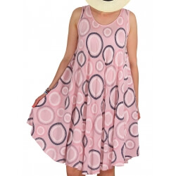 Robe grande taille été évasée rose CHIMENE