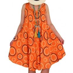 Robe grande taille été évasée orange CHIMENE