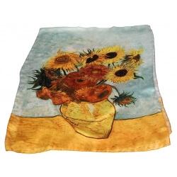 Étole foulard en soie xxl imprimé tableau VAN GOGH