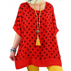 Tunique blouse grande taille été rouge JULIANNE