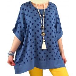 Tunique blouse grande taille été bleu jean JULIANNE