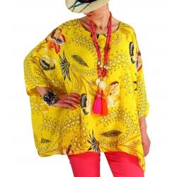 Tunique poncho été bohème grande taille jaune PEGGY