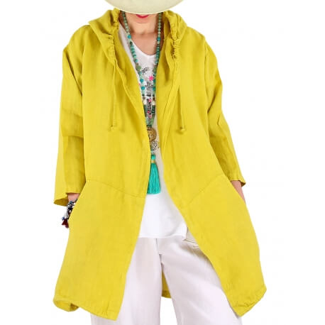 Veste lin capuche été grande taille bohème jaune DOUGLAS