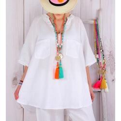 Tunique grande taille lin été bohème blanc BABETTE-Tunique femme-CHARLESELIE94