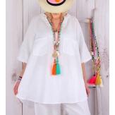 Tunique grande taille lin été bohème BABETTE blanche Tunique femme grande taille