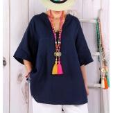 Tunique grande taille lin été bohème bleu marine BABETTE-Tunique femme-CHARLESELIE94