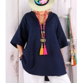 Tunique grande taille lin été bohème BABETTE bleu marine Tunique femme grande taille
