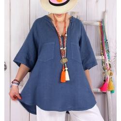 Tunique grande taille lin été bohème bleu jean BABETTE-Tunique femme-CHARLESELIE94