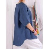Tunique femme grande taille pur lin été BABETTE bleu jean Chemise femme grande taille