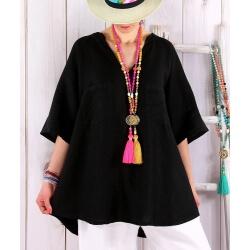 Tunique grande taille lin été bohème noir BABETTE Tunique femme