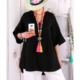Tunique femme grande taille lin été bohème BABETTE noire Tunique femme