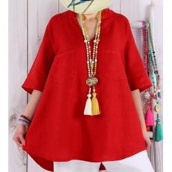 Tunique grande taille lin été bohème rouge BABETTE-Tunique femme-CHARLESELIE94