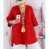 Tunique grande taille lin été bohème BABETTE rouge Tunique femme