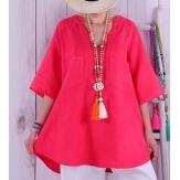 Tunique grande taille lin été bohème BABETTE fushia Tunique femme