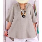 Tunique grande taille pur lin été bohème BABETTE beige Tunique femme grande taille
