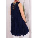 Robe tunique dentelle été bohème bleu marine ISADORA