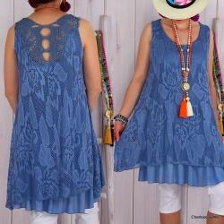 Robe tunique grande taille dentelle ISADORA Bleu jean-Tunique femme-CHARLESELIE94