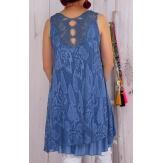 Robe tunique dentelle été bohème bleu jean ISADORA