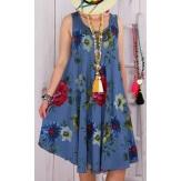 Robe grande taille été trapèze bleu jean CHIVA-Robe femme-CHARLESELIE94