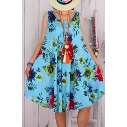 Robe grande taille été trapèze turquoise CHIVA-Robe femme-CHARLESELIE94