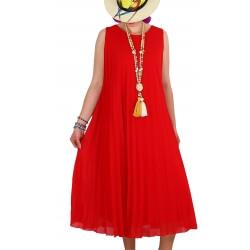 Robe longue été chic plissée mousseline rouge TROPEZ