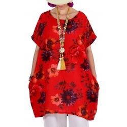 Robe tunique grande taille boule été rouge PAMPLUM