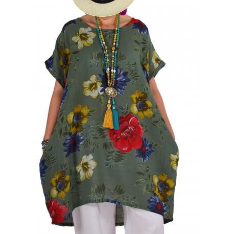 Robe tunique grande taille boule été kaki PAMPLUM