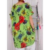 Robe tunique grande taille boule été vert  PAMPLUM