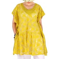 Tunique poncho dentelle été chic romantique jaune MIZY