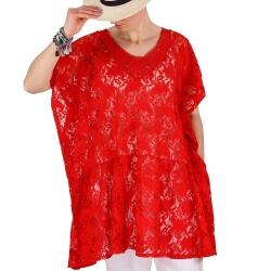 Tunique poncho dentelle été chic romantique rouge MIZYLA