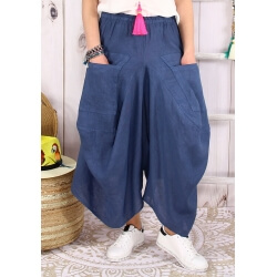 Jupe pantalon femme lin grande taille bohème bleu jean MARCO-Jupe femme-CHARLESELIE94