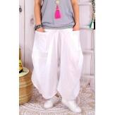 Pantalon femme grande taille lin été blanc SIMONE