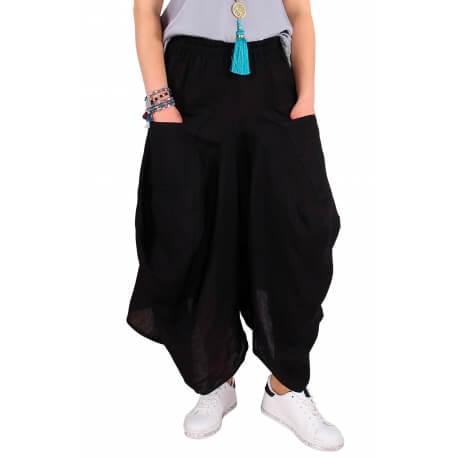 Pantalon femme grande taille lin été noir SIMONE