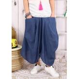 Pantalon femme grande taille lin été bleu jean SIMONE