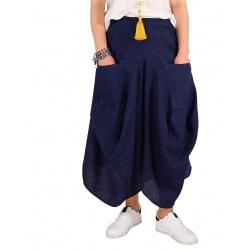 Pantalon femme grande taille lin été bleu marine SIMONE