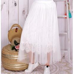 Jupe longue tulle dentelle romantique blanche KYOTO