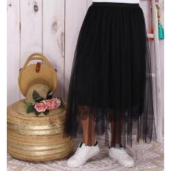 Jupe longue tulle dentelle romantique noire KYOTO