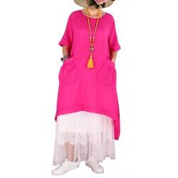 Robe longue été asymétrique bohème fushia DENISE